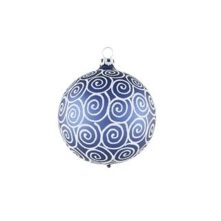 Rödentaler Weihnachtskugeln 8 er Set Renaissance Ozeanblau-Weiß 10 cm R04-0880101