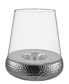 Kaheku Windlicht Bilbao Golf rund silber 42 cm Ø 34 cm komplett Glas und Sockel