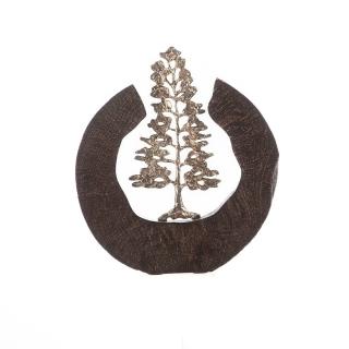 "Casablanca Skulptur ""Fir Tree"" Mangoholz / Aluminium braun / silberfarben - handgefertigt - H: 39 cm B: 36 cm T: 6cm 81027"