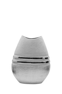 """Gilde Vase flach """"Silvino"""" silber L= 6,8 cm B= 17,0 cm H= 20,0 cm 47022"""