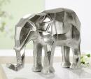 "Gilde Elefant ""Angular"" silber L= 11,0 cm B= 34,0 cm H= 25,0 cm 60315"