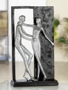 "Gilde Figur ""Versprechen"" silberfarbenes Paar, Rahmen + Base schwarz L= 6,5 cm B= 16,0 cm H= 27,0 cm 36808"