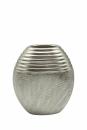 "Gilde Vase oval ""Trace"" silber matt/glänzend L= 9,5 cm B= 18,0 cm H= 19,0 cm 47063"