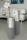 "Gilde Bodenvase ""Newtown"" Grey grau matt/silber glänzend L= 15,0 cm B= 15,0 cm H= 65,0 cm 47103"