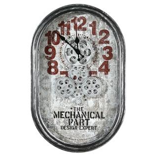 """Casablanca Wanduhr """"Lodge"""" Metall / Glas . silberfarben / rot . Antikfinish mit sich bewegenden Zahnrädern . Metall . silberfarben mit schwarzen Metallzeigern für 4 x AAA Batterien H: 54 cm B: 35 cm T: 6cm 50336"""