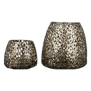"""Casablanca Windlicht """"Purley"""" Metall . goldfarben . Antikfinish H: 20 cm Ø 20 cm 84082"""