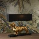 Voss Lampe Tischlampe Dackel schwarz goldfarbig 60x48,5x14cm
