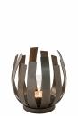 Fink Orfea, Windlicht mit Glas, Edelstahl, antik bronze,...