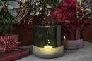 Fink Trento, Vase, Windlicht, Glas, rot, H= 15 cm,...