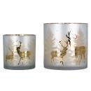 """Gilde Windlicht """"Deer Forest"""" Glas . satiniert..."""