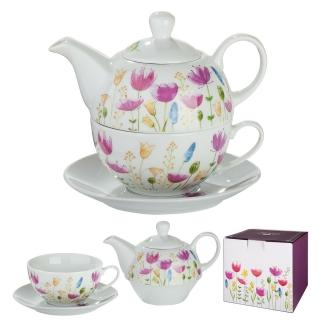 """Gilde Tea for one """"Blumenwiese"""" weiß/mehrfarbig, Teekanne (Füllmenge 400ml) mit Deckel + Tasse (Füllmenge 300ml) + Untersetzer in Geschenkverpackung H: 15 cm Ø 16 cm 49761"""