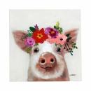 Bild Schweini handbemalt acryl auf Leinwand 50x50 cm