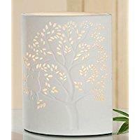 Gilde Lampe Ellipse Baum mit Katze weiß, E14 max. 40 Watt  Länge 9,0 cm Breite 18,0 cm Höhe 28,0 cm 32826